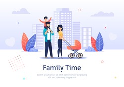 Family Spend Time Together Walking with Baby Stroller Banner Vector Illustration. Happy Parents with Children. Man Holding Boy. Characters on Weekend. City Background with Buildings.