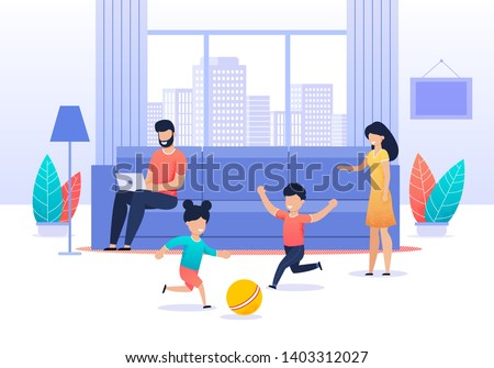 Family Spending Time at Home. Busy Father Sitting on Sofa in Living Room. Active Children Playing Ball. Mom Tries Calming Down them. Parents and Kids. Values and Priorities. Vector Flat Illustration Stock photo ©