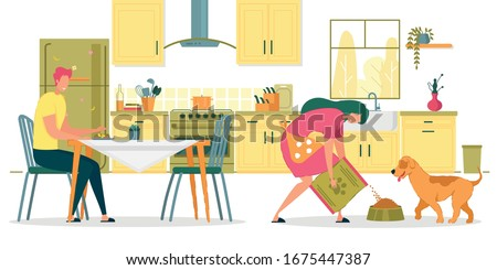 Family Spending Time Together in Kitchen Flat Cartoon Vector Illustrtation. Girl in Short Apron Pouring Food from Large Bag in Bowl for Dog. Pet Waiting for Eating. Man Having Meal at Table.