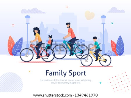 Family Sport Banner Vector Illustration. Parents and Kids Riding Bicycles. Active Vacation. Weekend Activity. Father Mother, Son and Daughter Having Healthy Lifestyle. Travelling together.