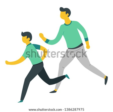 Family sport father and son running or jogging parent and child vector isolated character outdoor activity schoolboy and dad active pastime bringing up kid fatherhood and childhood love and care