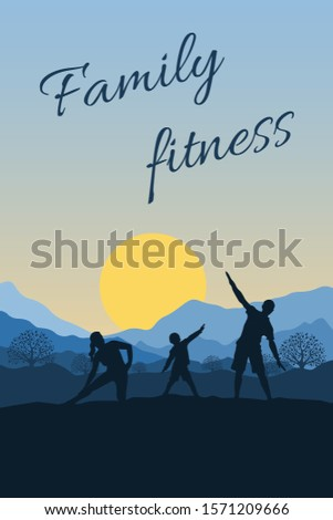 Family sports and outdoor activities. People do fitness in nature, perform physical exercises on background of mountains and sun. Children and parents lead an active and healthy lifestyle. Flat vector