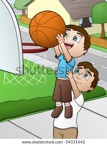 Family Sports Time - vector illustration