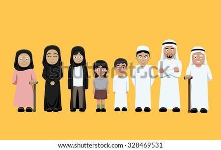 Family Standing Cartoon Vector Illustration 4 (Arab)