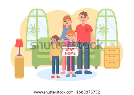 Family staying at home in self quarantine. Self-isolate from a pandemic. Flat vector illustration.