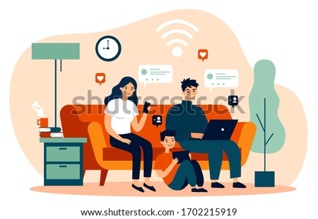 Family suffering from social media addiction. Parent and child sitting together at home and using digital devices. Vector illustration for problem, communication, internet concept