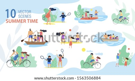 Family Summer Time Scenes, Summer Vacation Activities Trendy Vector Set Isolated on White Background. Parents with Kids Sailing and Fishing from Boat, Riding Bike, Playing Active Games Illustration