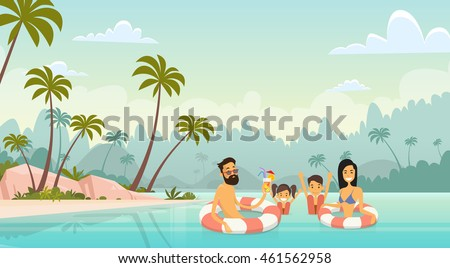 family swimming holiday sea
