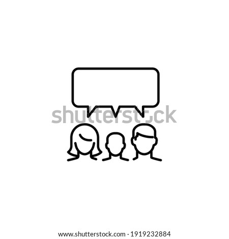 Family talk line icon. Testimonials and customer relationship management concept. Simple outline style. Vector illustration isolated on white background. EPS 10. Photo stock ©