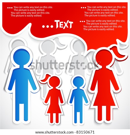 Family talking. Paper bubbles for  speech