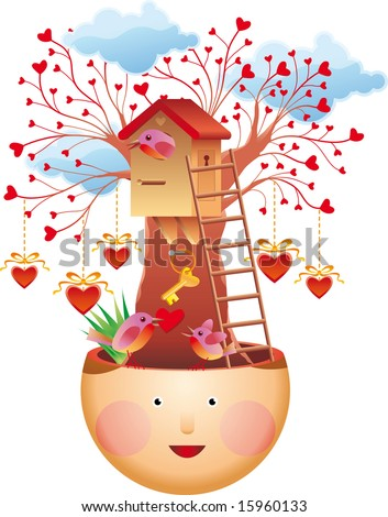 Family thoughts. Family love concept. A lovely tree house, a bird family, a key of love and many hearths.