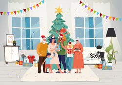 Family together at home for christmas. Happy family celebrate New Year with children and grandparents. Decorated Christmas tree in the room. Festive interior and characters. Flat vector illustration