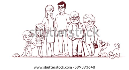 Family together. Group of people standing. Little boy, teenager girl, woman, man, old man, senior woman, cat, dog. Father, mother, sister, brother, grandfather, grandmother, pets. Lineart sketch.