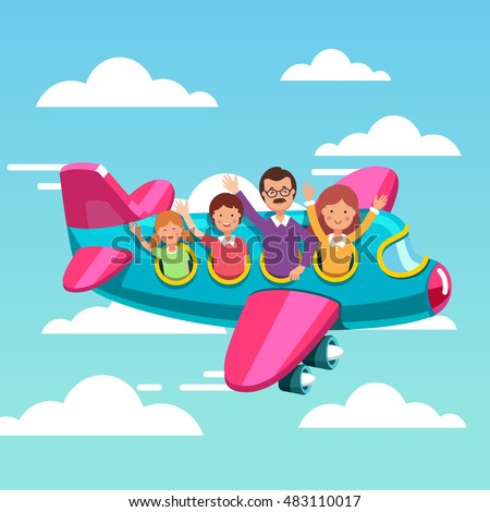 Family tourists traveling on airplane together. Happy father, mother and kids flying together on their summer holiday voyage. Flat style modern vector illustration.