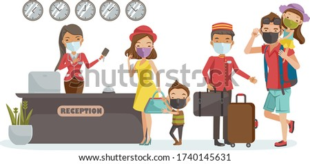 Family traval mask. Family checking in hotel at lobby. Receptionist at the lobby. Porter provides service. Happy family. New Normal concept. Hotel staff mask. Vector illustration.