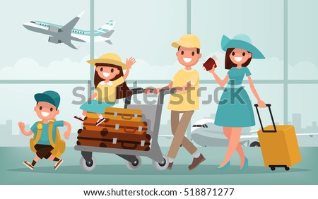 Family travel. Father mother, son and daughter at the airport. Vector illustration in a flat style