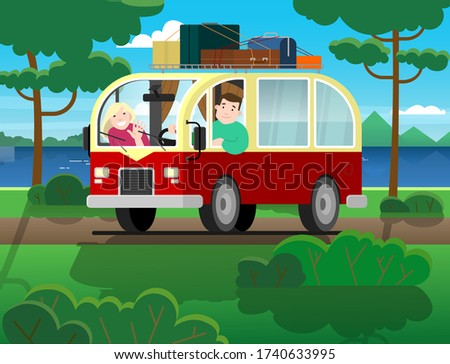 Family travel on a minivan; a man drives a car, a woman waves her hand. Happy cartoon people in a retro minivan. Road trip, summer vacation by the river, trees, mountains, forest; roof rack, suitcases