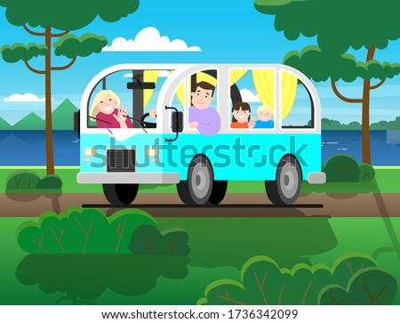Family travel on minivan; father drives, mother, children; vacation in nature. Happy cartoon people kids in a retro minivan. Road trip, summer vacation by the river, trees, mountains, forest.