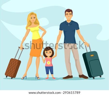 family travel vector flat