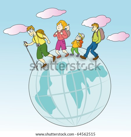 Family traveling around the world - stock vector