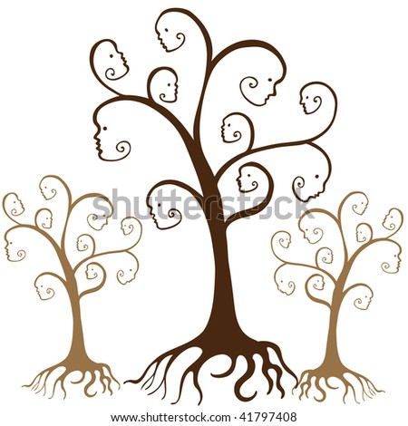 Family tree faces  isolated on a white background.