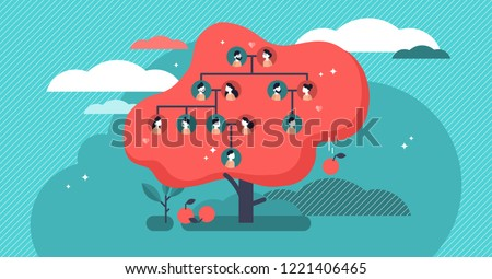 Family tree flat vector illustration. Example of relatives connection data. Human genealogical heritage collection from one family depicted in scheme in form of apple tree. Old kin tradition symbol.