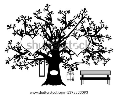 family tree 2 heart vector