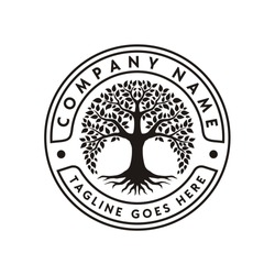 Family Tree of Life Stamp Seal Emblem Oak Banyan Maple logo design vector