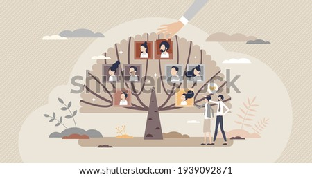Family tree with generation connection and origin history tiny person concept. Relatives and siblings genealogy research with dynasty roots chart vector illustration. Retro community with grandparents Stock photo ©