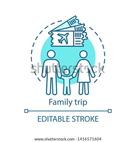 Family trip concept icon. Travel style idea thin line illustration. Vacation destinations. City tours. Kid-friendly activities. Vector isolated outline drawing. Editable stroke