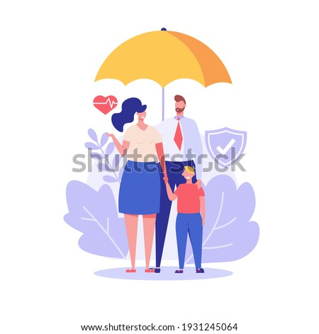 Family under umbrella. Concept of life insurance, protection of health and life of children for travel or vacation. Healthcare and medical service. Vector illustration in flat design