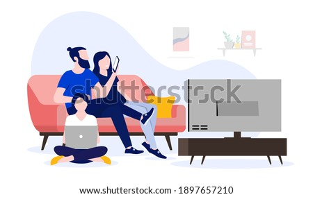 Family using internet at home - Watching tv, using computer and smartphone. Wifi and home network concept. Vector illustration.