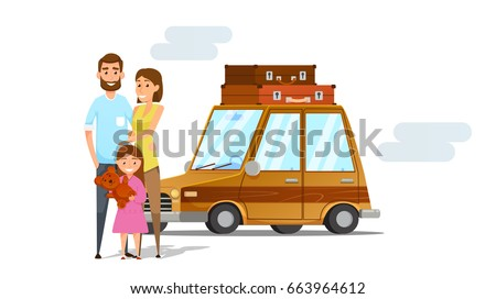 Family vacation. Happy family going for vacation in brown car .Vector illustration.