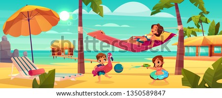 Family vacation on tropical resort cartoon vector with happy mother relaxing, lying in hammock between palms while children playing with ball and water gun on beach illustration. Leisure on seacoast