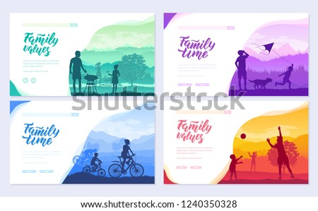 family vacation with children in nature brochure cards set. Friendly resorts  template of flyear, web banner, ui header, enter site. Invitation concept background. Layout modern slider