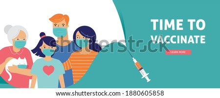 Family Vaccination concept design. Time to vaccinate banner - syringe with vaccine for COVID-19, flu or influenza and a family