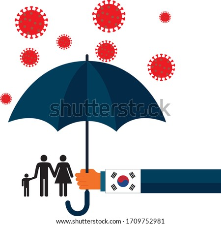 Family vector flat illustration during Coronavirus Covid-19. Coronavirus infection control. Bacteria in the air. Immune system protection, support.  South korean government protection with umbrella.