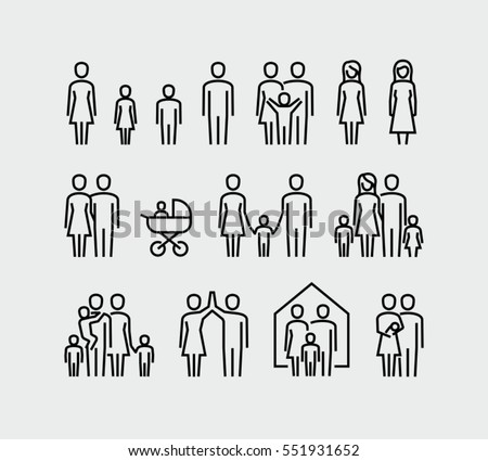 Family vector icons set in thin line style