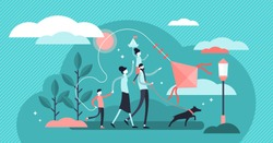 Family vector illustration. Flat tiny traditional happy household with pet. Romantic fun outdoor parents and kids walk for happy relationship. Adult couple support and quality free time for children.