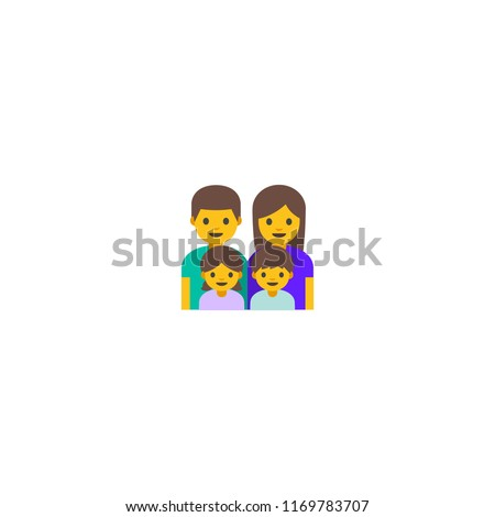 Family vector illustration with little boy and girl