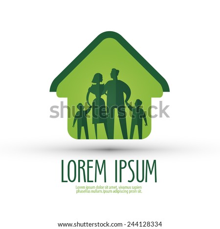 family vector logo design template. house or people icon.
