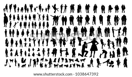 Family vector silhouettes