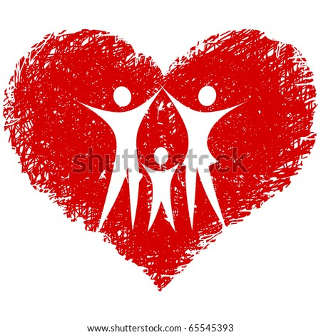 family vector with hand drawn heart - stock vector