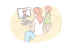 Family, video conference, communication concept. Cartoon character young woman mother with child kid baby daughter communicate chatting talking with man father online. Remote conversation illustration