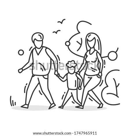 Family walk icon. Outline parents and kid walking in park. Outdoor family activity concept. Parenthood and relationship sign. Mother and father with son. Thin line vector illustration.Editable stroke