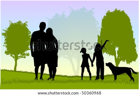 Family walk with the dog in the park