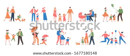 Family walking. Relatives people outdoor, mom, dad and kids at walk, have fun together, active lifestyle of cute family vector illustration set. Dad and mother with kids walk together outdoor