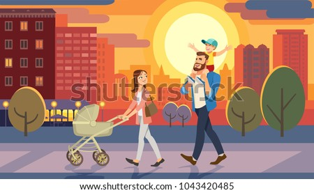 Family walking with baby car at city sunset. Father holding son on his shoulders. Fun lifestyle of cartoon characters at cityscape street. Vector illuctration of parents and children outdoor.