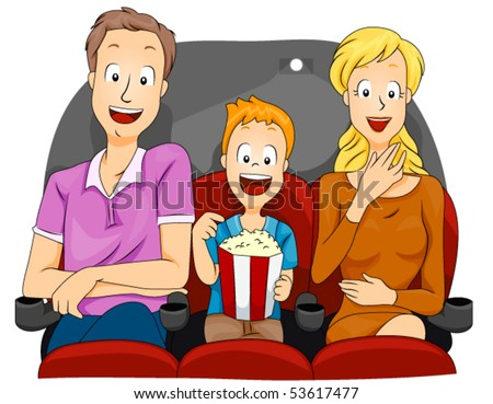 Family watching Movie - Vector
