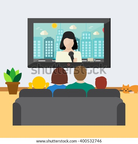 Family watching news on tv, vector illustration. Big family sitting on the couch in the room and watching television